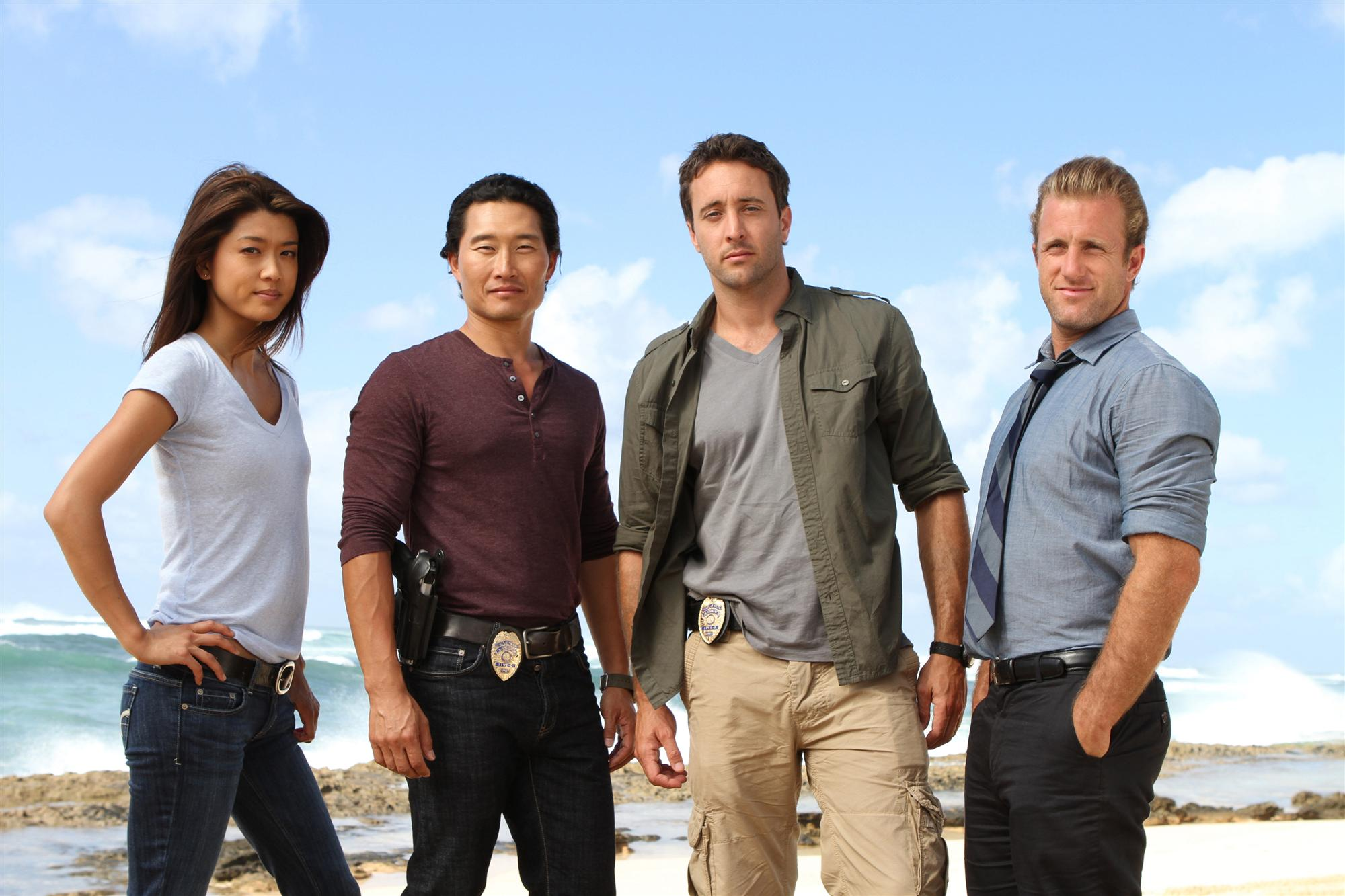(left to right: Grace Park, Daniel Dae Kim, Alex OíLoughlin, Scott Caan) HAWAII FIVE-0 on the CBS Television Network. Photo: MARIO PEREZ/CBS ©2011 CBS BROADCASTING INC. All Rights Reserved